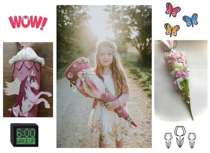 drei bilder mit pinken schultüten - einhorn schultüte - ein mädchen mit einem weißen kleid und mit einer pinken schultüte mit pinken blumen