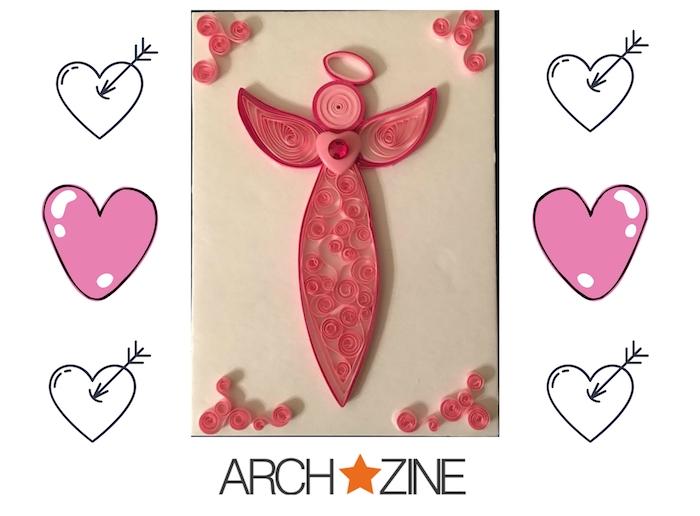 ein bild mit kleinen weißen und zwei großen pinken herzen - ein pinker quilling engel aus papier miz pinken flügeln und einem pinken herzen