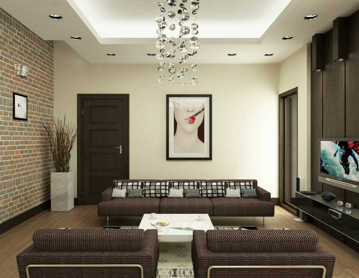 ein ordentliches Wohnzimmer nach Feng Shui einrichtet - Wandverkleidung Steinoptik