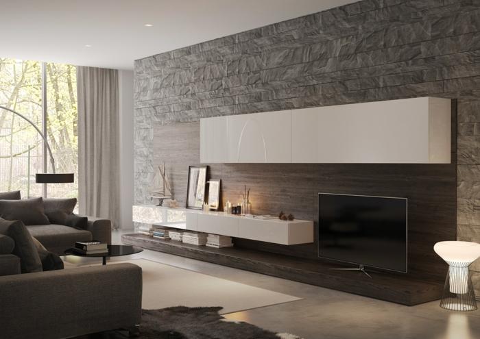 Graue Steinwand Wohnzimmer, Weiße Regale, Graue Wohnzimmermöbel