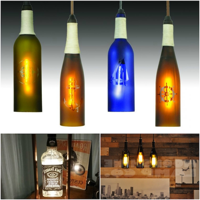 vier hängelampen mit grünen, blauen und braunen flaschen und einem anker - basteln mit glasflaschen