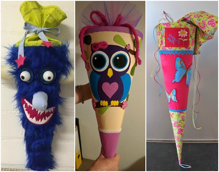 drei bilder mit schultüten - eine schzltüte mit einer eule und einem violetten herzen und einer violetten schleife - eine blaue schultüte mit einem blauen monster und eine pinke schultüte mit blauen schmetterlingen