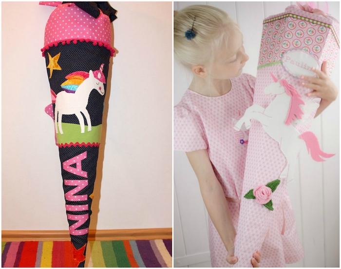 schultüte nähen - ein mädchen mit einem pinken kleid und mit einer pinken großen schultüte - schultüte einhorn - ein weißes einhorn mit einer regenbogenfarbenen mähne