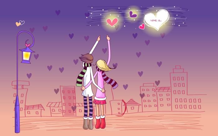Liebesbilder für Sie - ein schönes Bild von zwei Verliebte unter Nachtshimmel voller Herzen