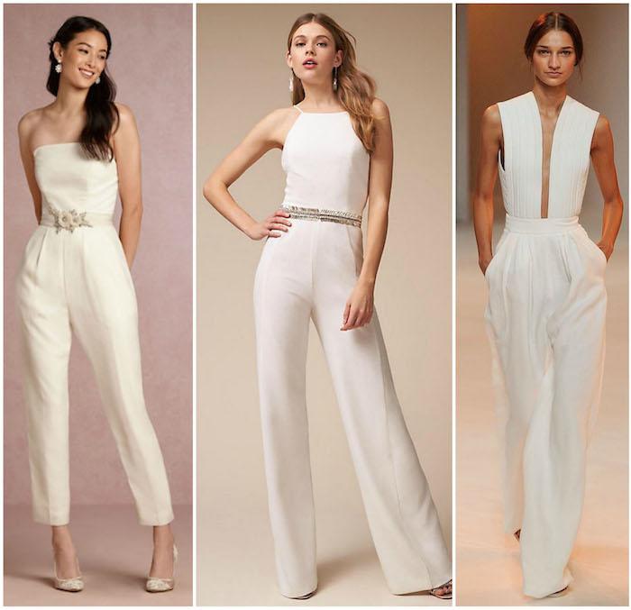 drei Jumpsuit Hochzeit Ideen Models verschiedene Modelle von Overall zum Hochzeit eigene Hochzeitsfeier Braut in Jumpsuit