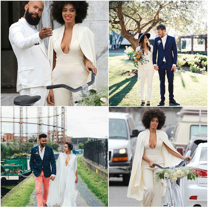 """drei Paare verliebte Menschen sagen """"Ja"""" am großen Tag Jumpsuit Hochzeit Ideen zum trendy Outfit für Damen und Herren"""