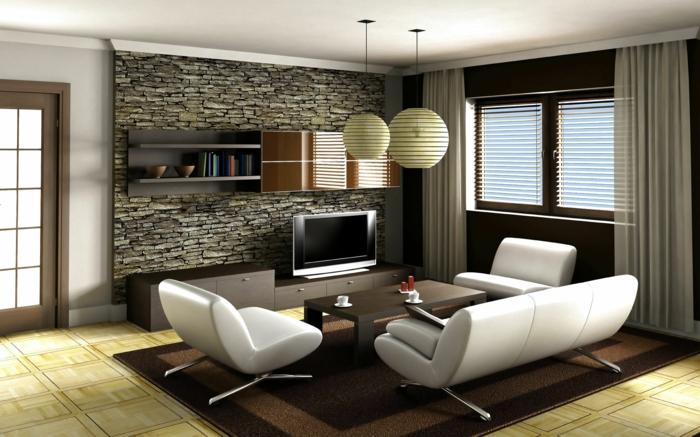 Eine Wandverkleidung Steinoptik - ein Zimmer mit flachen Fernseher und weiße Wohnzimmermöbel