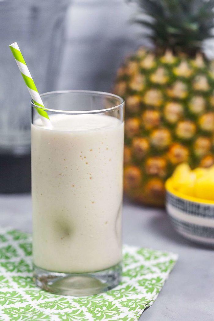eiweißshake zum abnehmen mit ananas und milch, gesund leben