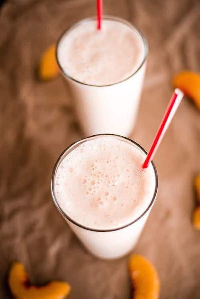 eiweißshake abnehmen, proteingetränke mit pfirsichen, protein shakes