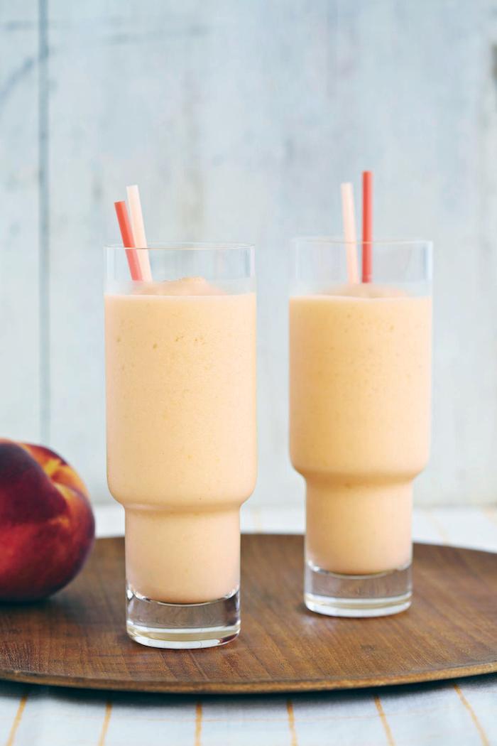 eiweißshake rezept, protein shake mit pfirsichen, hüttenkäse, eiweißshake ohne proteinpulver