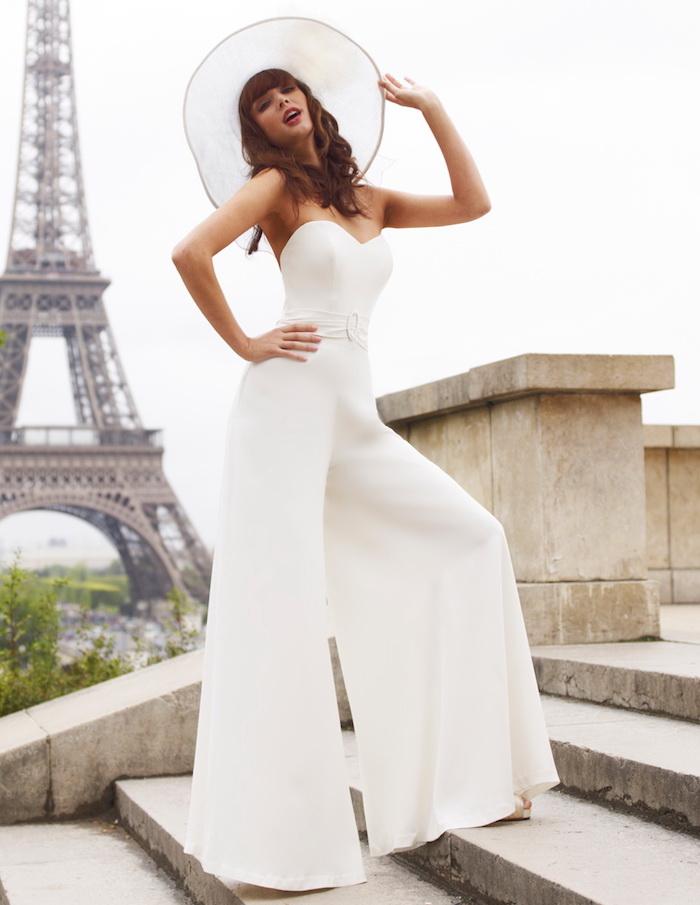 overall damen mode zum inspirieren hochzeitsfeier in paris feiern großer hut breite hosenbeine mode