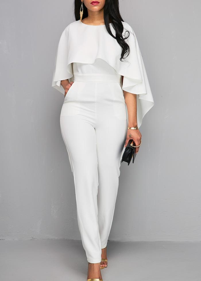 slimfit design hosenanzug damen hochzeit weißes outfit ist ein muss für die brau sogar wenn die hochzeitsfeier informell ist schwarze und goldene accessoires