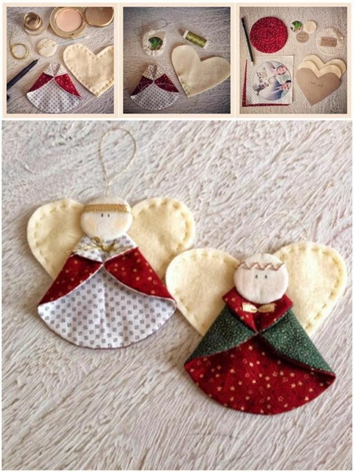 engel basteln kinder schöne weihnachtsornamente selber machen engel aus filz basteln anleitung fotos