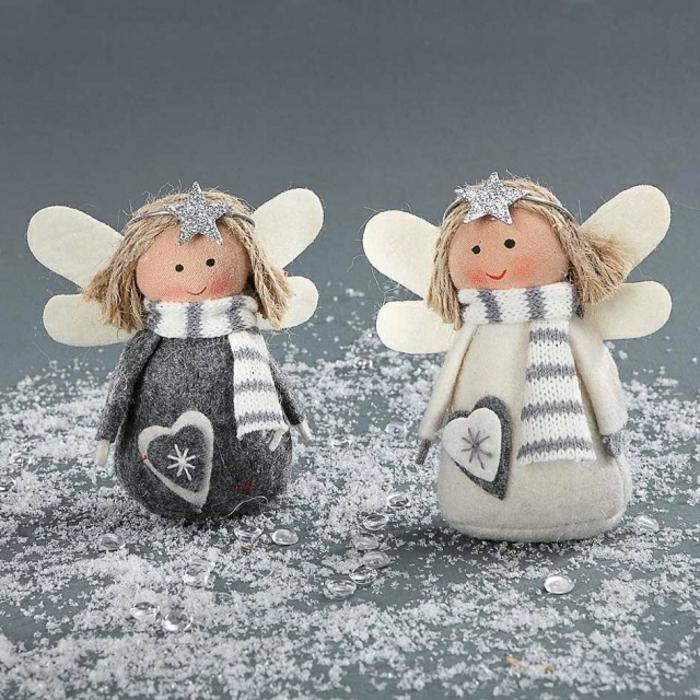 engel basten aus naturmaterialien schöne engel basteln schnell und schön weihnachtsdeko aus filz anleitung zwei engel weiß und grau