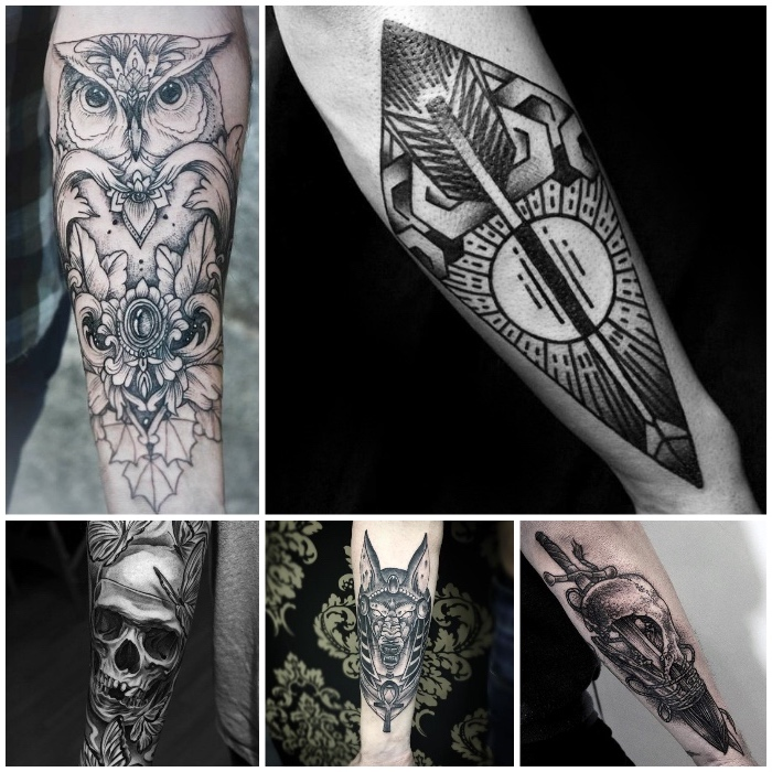 eulen tattoo am unterarm, schädel mit baumblättern, pfeil mit geometrischen elementen