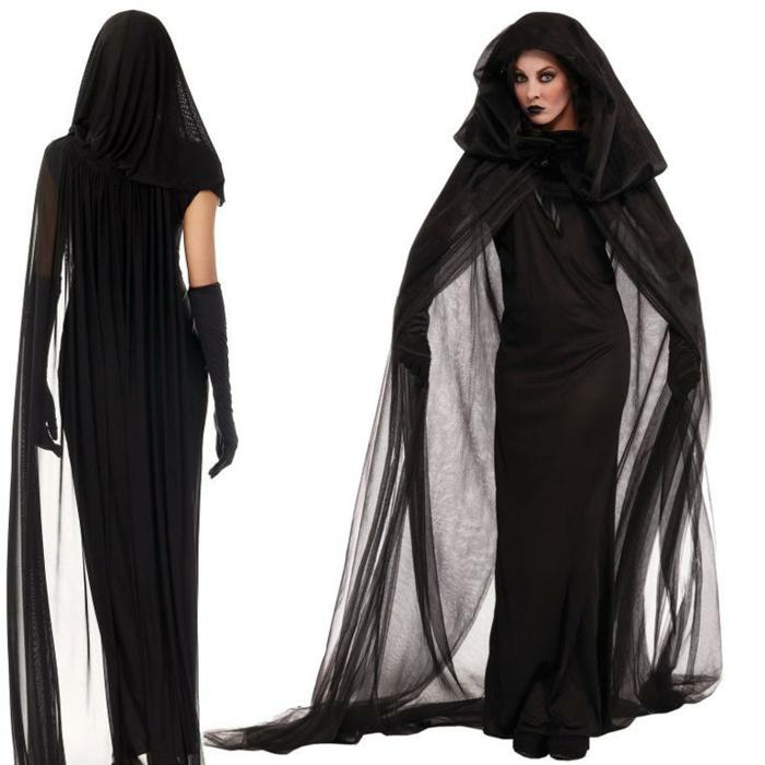 Schwarze Witwe - langes schwarzes Kleid mit langem schwarzen Umhang mit Kapuze aus Tüll