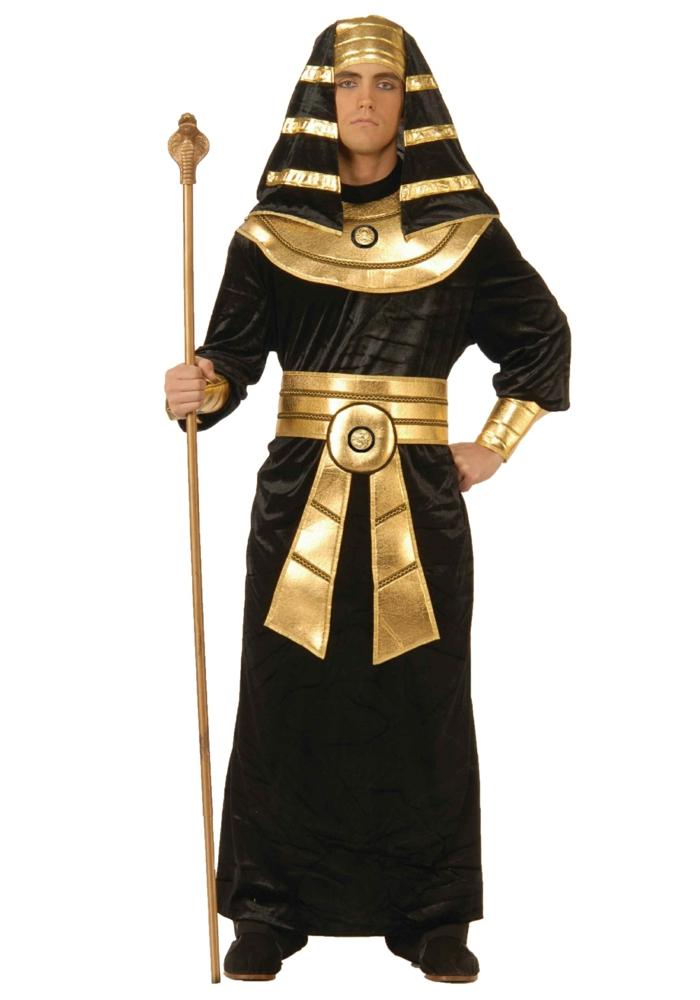 Pharao Faschingskostüm für Männer - schwarzes Kleid mit goldenen Motiven, Kopfschutz aus schwarzem Stoff mit goldenen Streifen