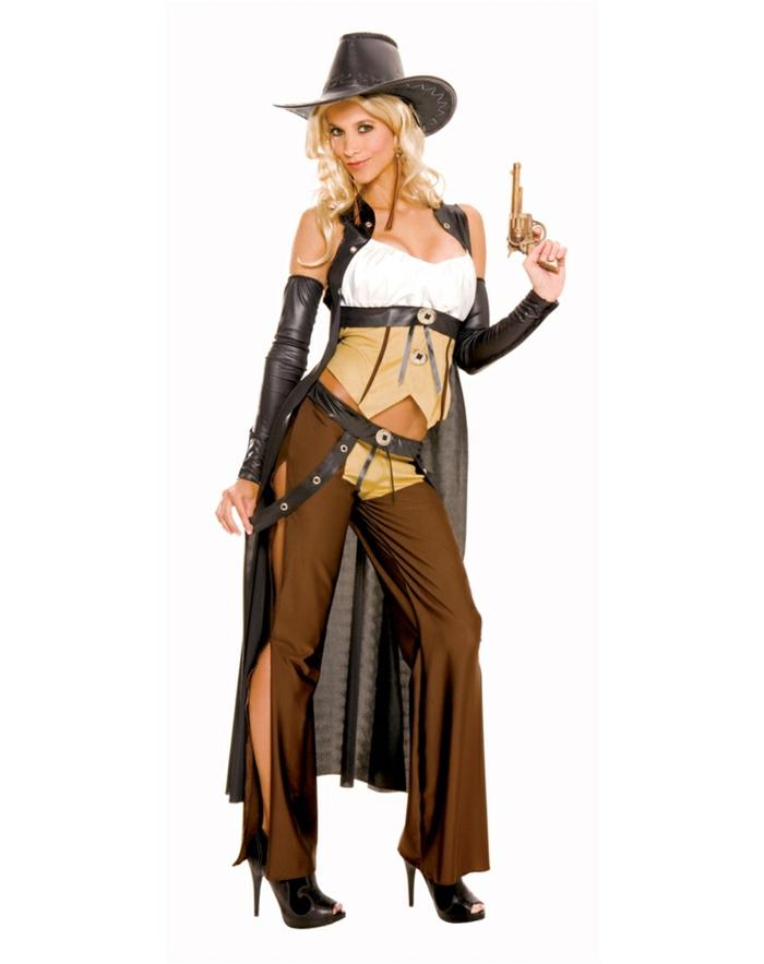 Fastnachtkostüme für Frauen - Cowgirl mit brauner Hose mit schwarzem Gürtel, Top in drei Farben, schwarze Ärmel aus Leder