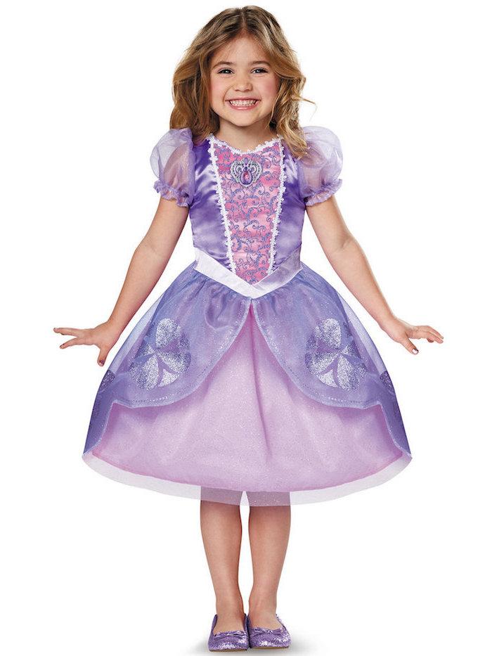 Rapunzel Kostüm für Fasching, knielanger Tüllrock und Oberteil mit Gliter-Elementen, glänzende Schuhe