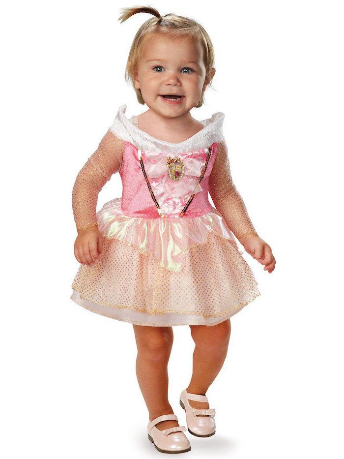 Fee Kostüm für kleines Mädchen, süßes Kleid in Creme und Rosa mit Spitzenelementen