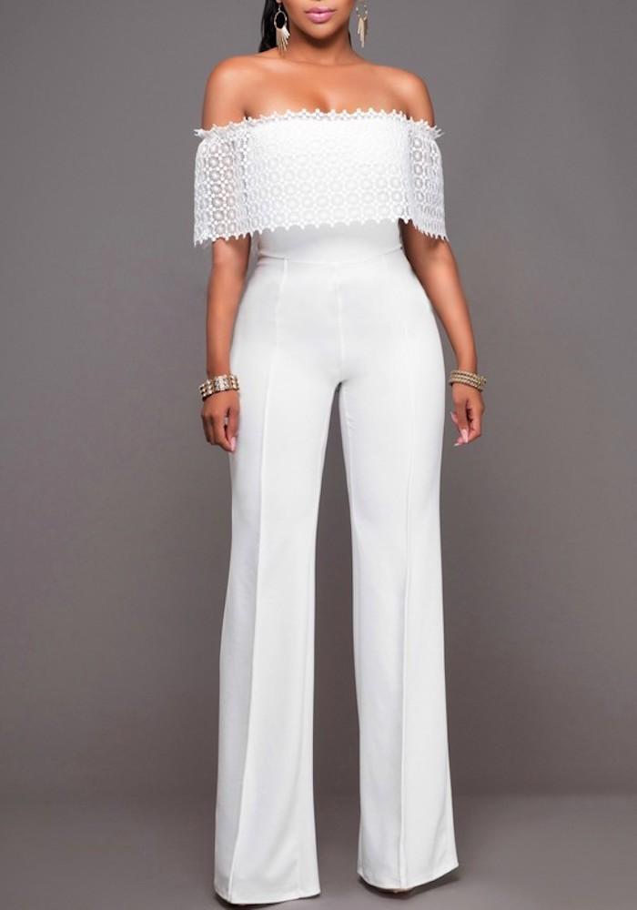 weißer hosenanzug damen hochzeit ideen zum stylen weißes einfaches design mit oberteil aus spitze um die arme