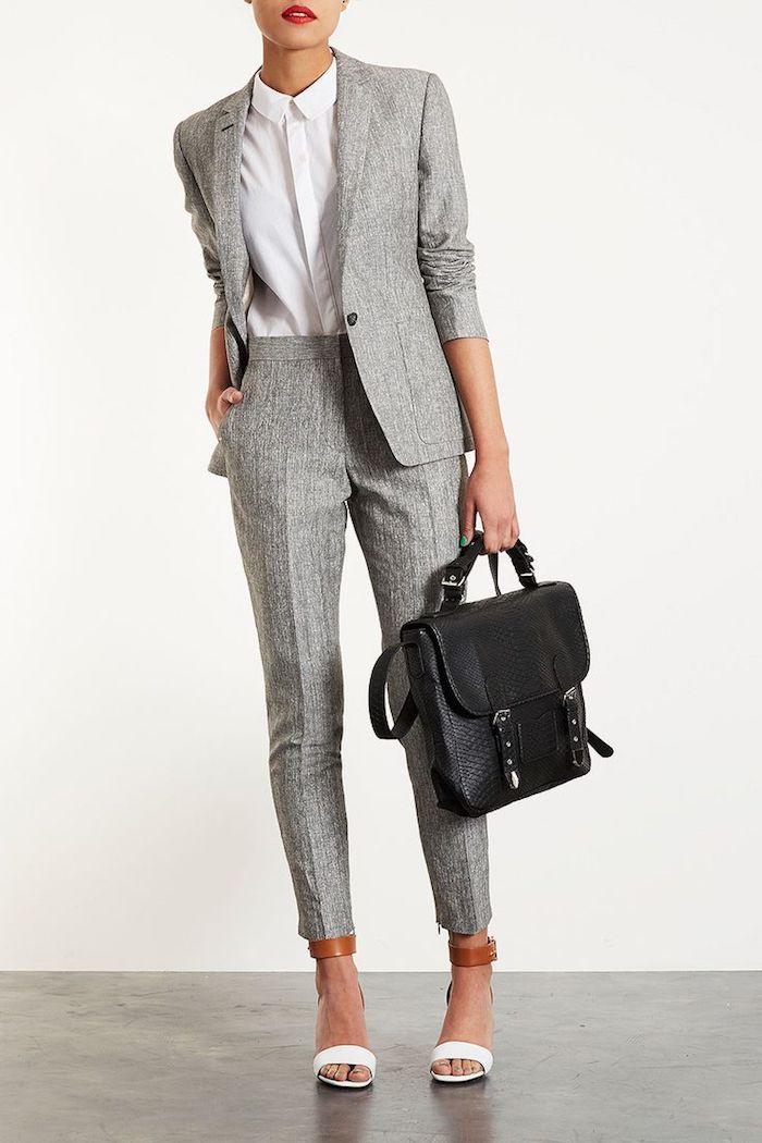 frauen outfit graue hose lassen sich schön mit weißem hemd kombinieren schwarze businesstasche