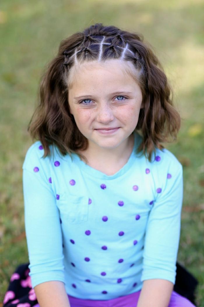 Kinderfrisuren - ein Mädchen mit braunem Haar und blauen Augen