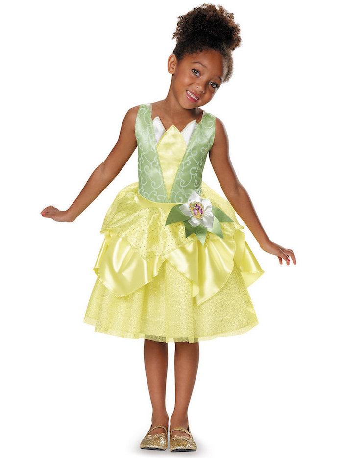 Froschkönig Kostüm für Mädchen, elegantes Kleid in Gelb und Grün, goldene Glitzer-Schuhe