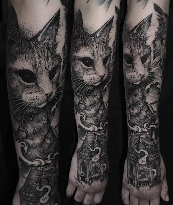 geile tattoos, katze mit schwarzen augen, 3d-tätowierung am unterarm