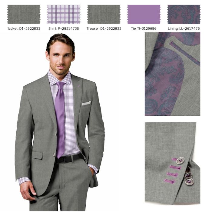 männer anzug in grau kombiniert mit lila kariertes hemd und einfärbige violette krawatte