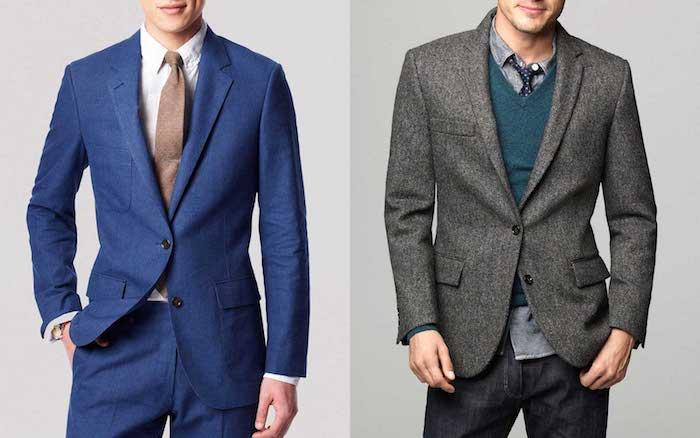 blauer anzug schwarzes hemd und braune krawatte graues sakko blaue pullover und schwarze jeans
