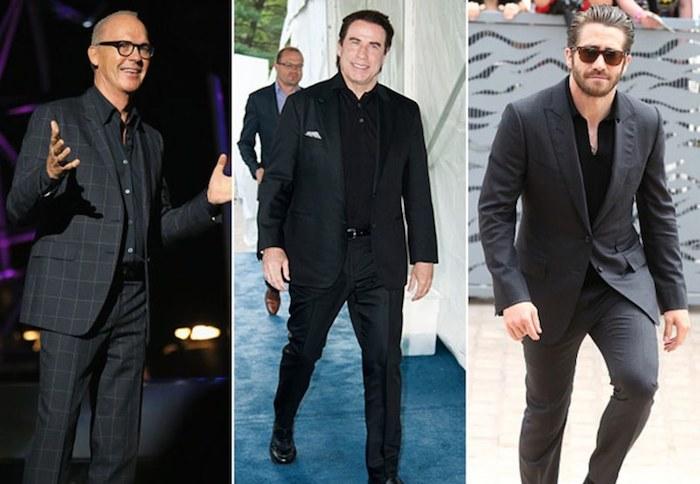 schwarzer anzug blaues hemd elegante gentlemen in schwarz oder dunkelgrau die farben des erfolgs