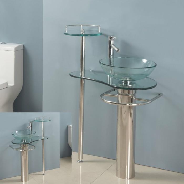 freistehender Handwaschbecken Badezimmer aus Edelstahl und Glas, Becken mit Glastrog und Glasregal, Becken mit Tuchhalter aus Edelstahl