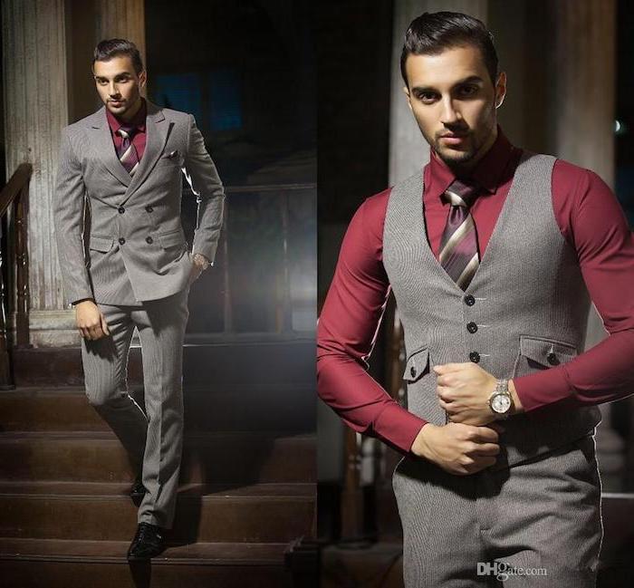 moderne anzüge für muskelmänner rotes hemd und grauer anzug gestreifte krawatte ideen zum entlehnen