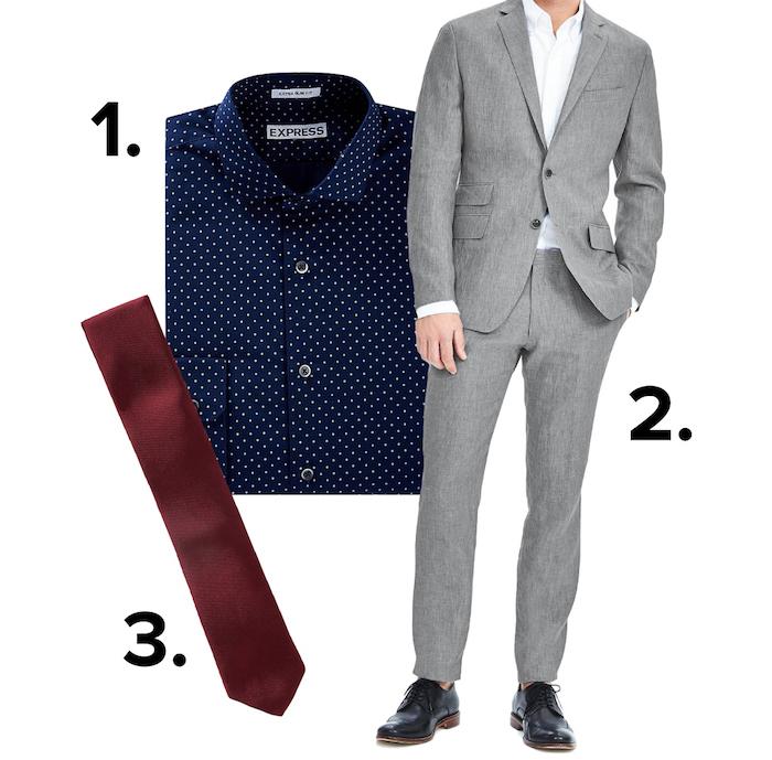 fliege anzug oder anzug mit hemd und krawatte gepunktetes hemd weiße punkte auf dunkelblauem stoff helle töne outfit rote krawatte
