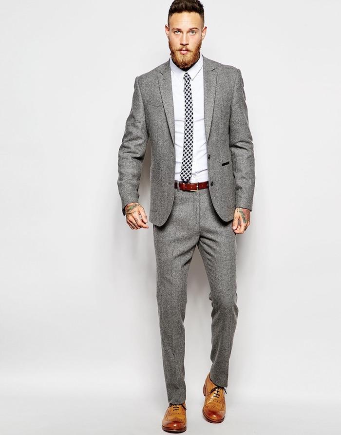 grauer anzug braune schuhe zum perfekten hipster style elegant zu besonderen anlässen mann