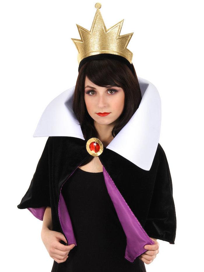 Die böse Hexe Kostüm, goldene Krone, schwarzer Mantel mit weißem Kragen