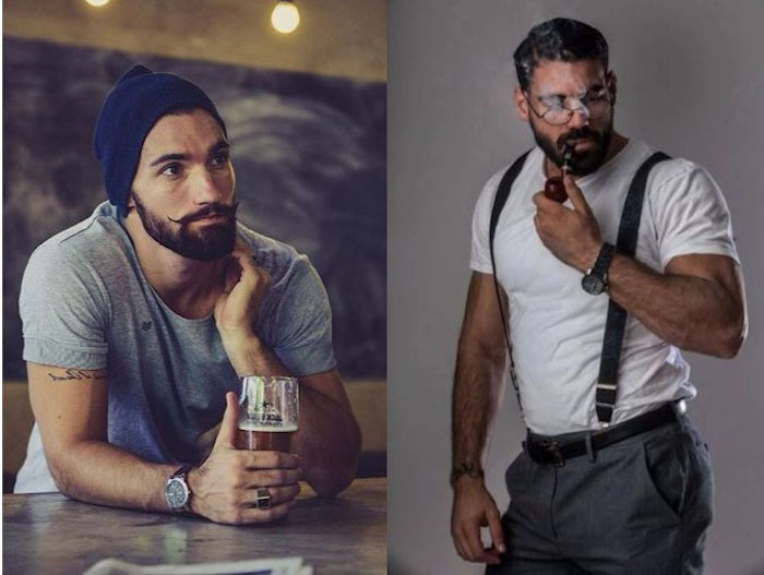 bart wachsen lassen bart und schnurrbart ideen mann mit weißem t-shirt hosenträger hose armbanduhr hut bier bar
