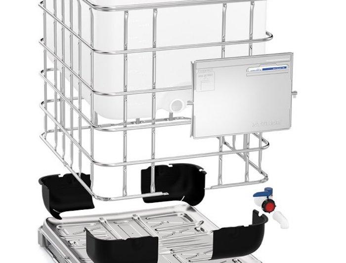 ibc container teile, kunststofftank aus polyethylene, gitterkäffig und palette aus metall