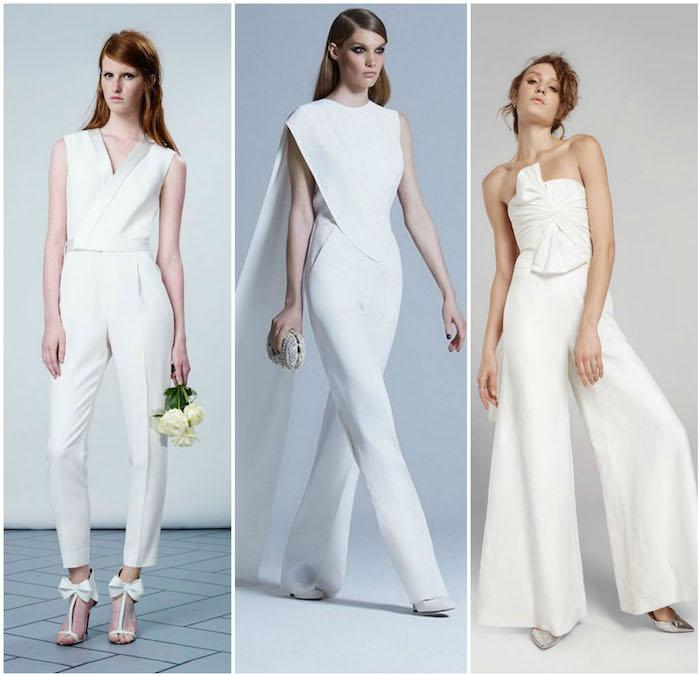 Warum nicht in Jumpsuit Hochzeit feiern drei Damen in weißen Anzügen weiße Bekleidung kreative Ideen für Braute