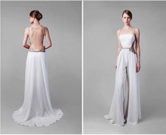 bodenlanger eleganter jumpsuit dame mit stil nackter rücken mode damenmode gebundene haare