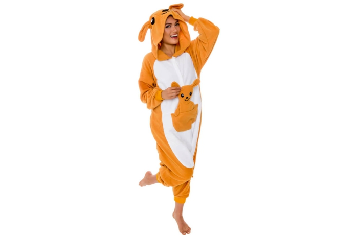 Beste Faschingskostüme, ein Känguru Kostüm in oranger Farbe mit Baby Känguru