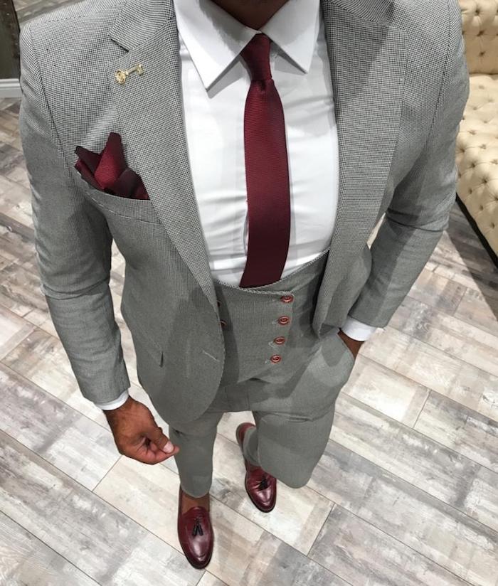 weitere fragen zum eleganten männer outfit - anzug mit hosenträger oder ohne? grauer anzug rote accessoires weißes hemd glänzende schuhe