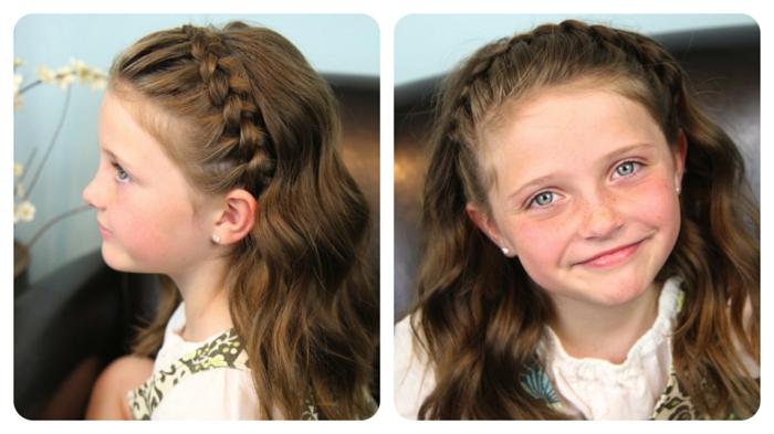 coole Frisuren - ein braunhaariges Mädchen mit Zopf wie eine Krone