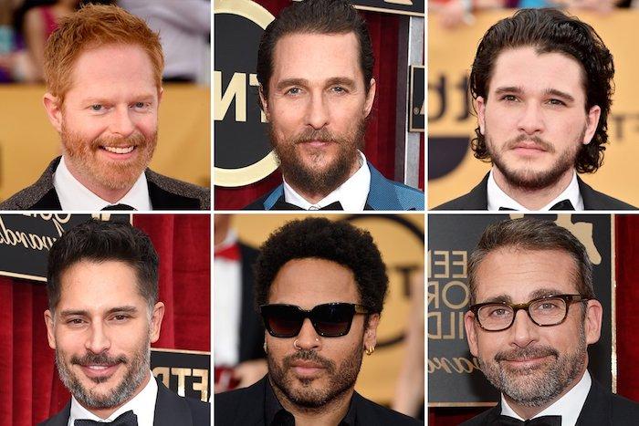 Sechs Ideen für Bart rund um den Mund von populären Schauspielern, kurze und mittellange Haarfrisuren