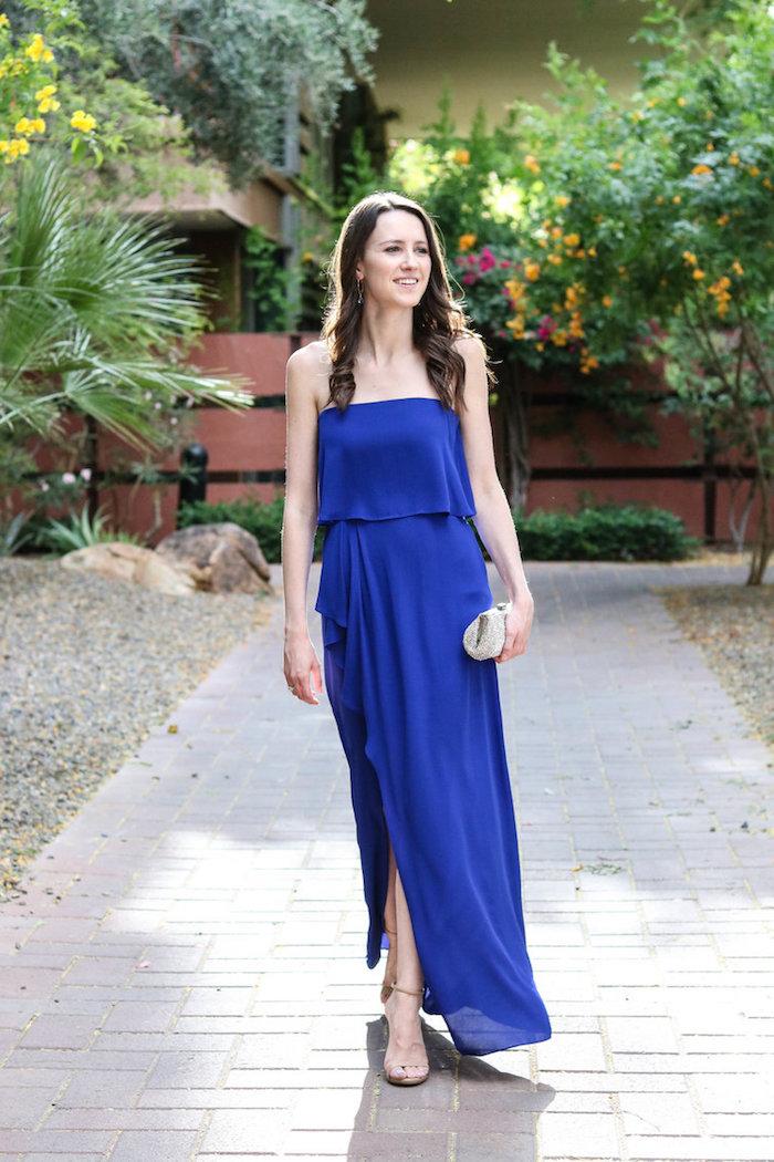 Blaues kleid tasche