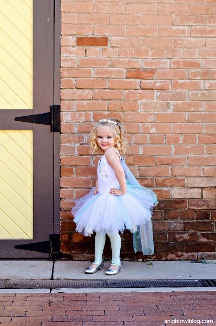 Elsa Kostüm einfach selber machen, Tüllrock und Oberteil mit Schleier und kleinen Schneeflocken