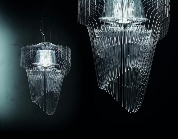Lampenschirme aus Metall mit futuristischem Design und Wasserfall-Optik