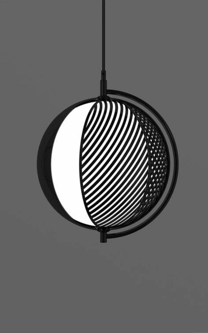 Industriale Lampe aus Edelstalh mit schwarzem Überzug mit Mond-Optik
