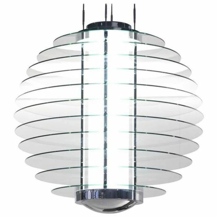 LED-Lampe mit langer Glühbirne, LED-Lampe mit Glasschirm aus Glas-Disks
